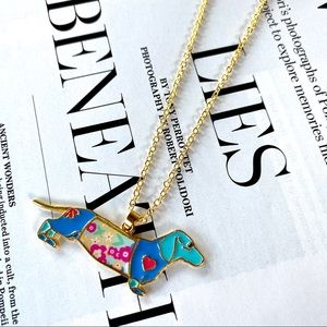 Dog Lovers Necklace Dachshund Pup Gold Colorful